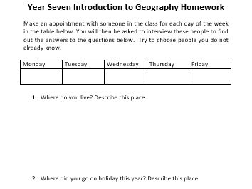 Intro to Year 7 Geography Homework Task