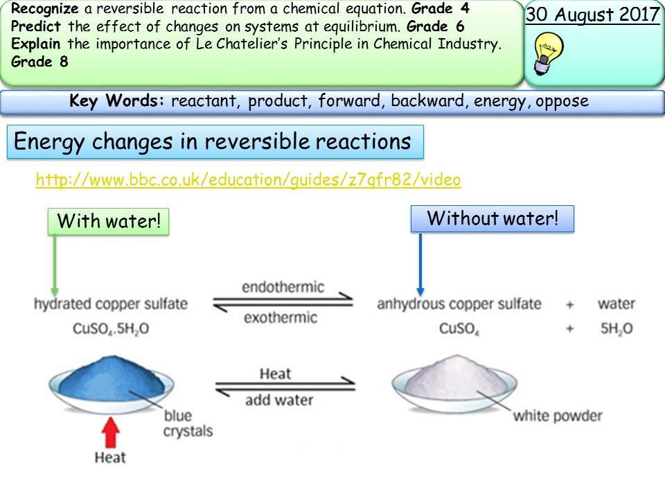 Reversible reactions and equilibria by mh5948 | Teaching ...