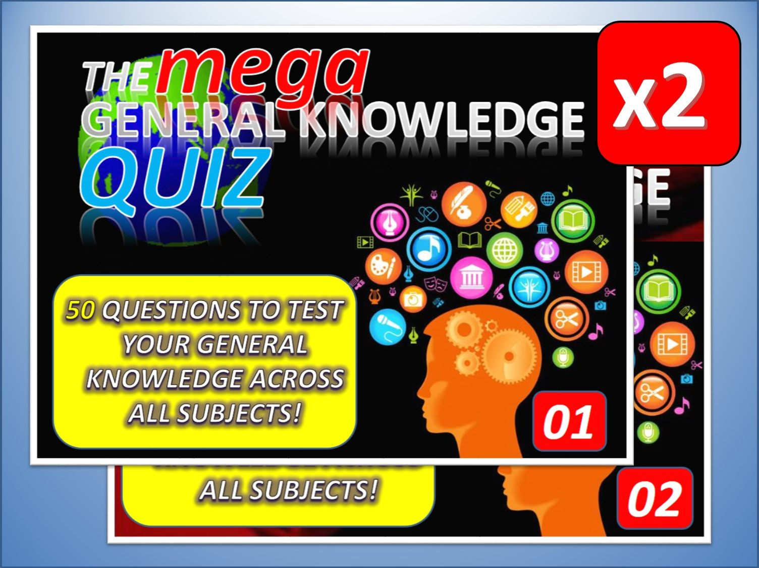 2 x The MEGA General Knowledge Pub Quiz (2 x 50 Questions) Form Tutor Time Settler End of Term