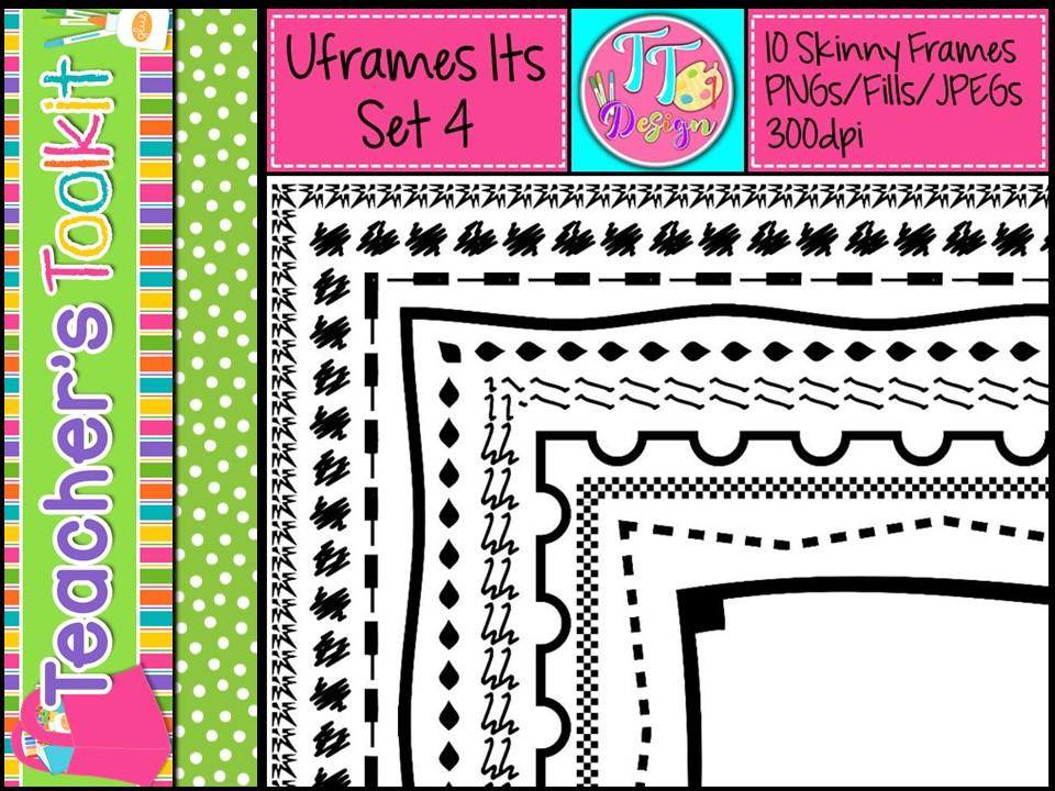 'UFrame Its' Set 4 Skinny Worksheet Frames Borders Clip Art CU OK