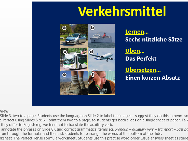 Introduction to transport and word order in the Perfect Tense (Year 8 German)