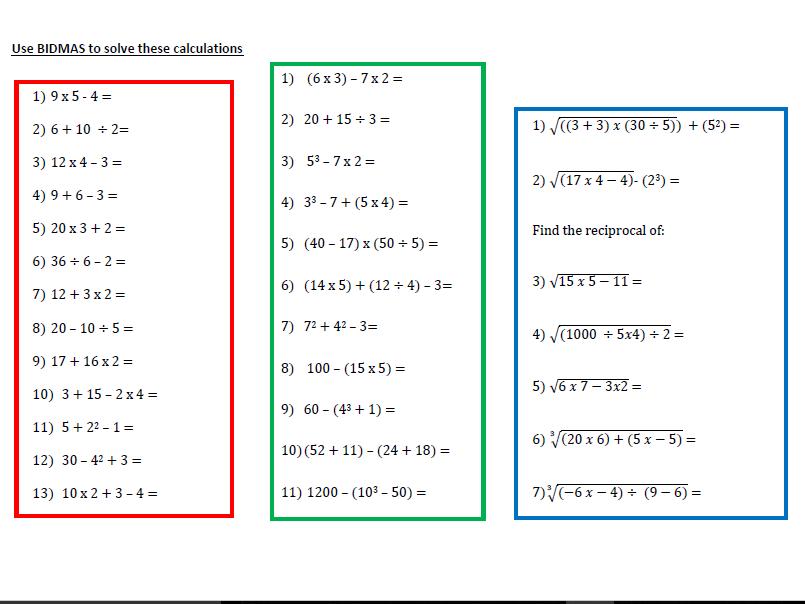 A Worksheet on BIDMAS   (2)
