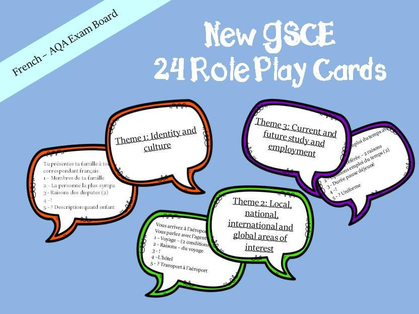 New GCSE - Role Play Cards - French Speaking Exam