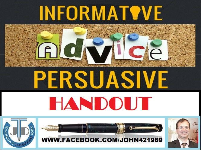 PERSUASIVE, INFORMATIVE, ADVISORY TEXTS: HANDOUT