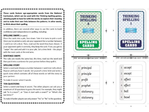 Key Stage 2 Spelling Flash cards and activities