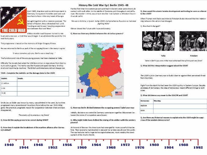 BBC History File The Cold War Supporting Worksheets Ep 234 – Cold War Worksheet