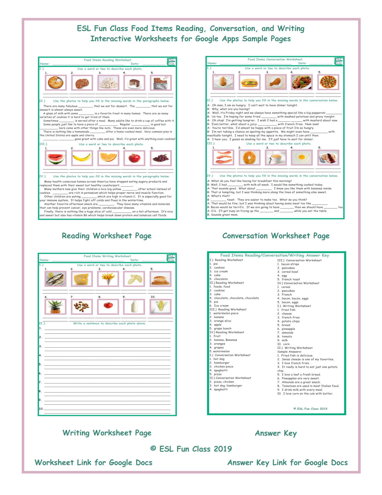 Food Items Read-Converse-Write Interactive Worksheets for Google ...