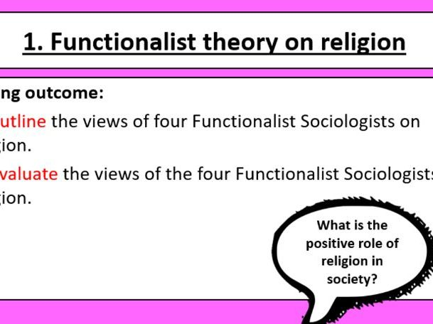 A-Level AQA Sociology: Beliefs, Lesson 1. Functionalist theories of religion (New spec)
