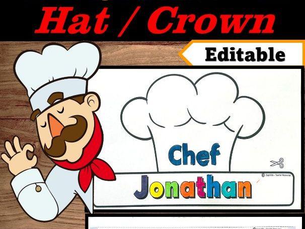 Chef Hat Editable Name | Community Helpers Week Craft | Community Helper Hat