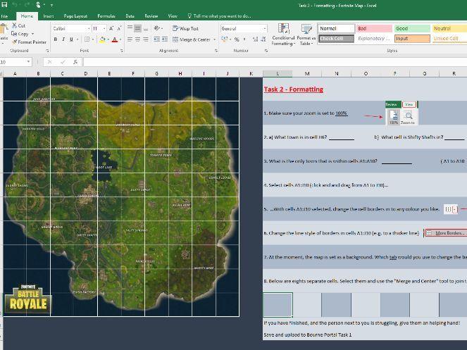 Fortnite Spreadsheet Tasks - Formulas, Formatting & Conditional Formatting