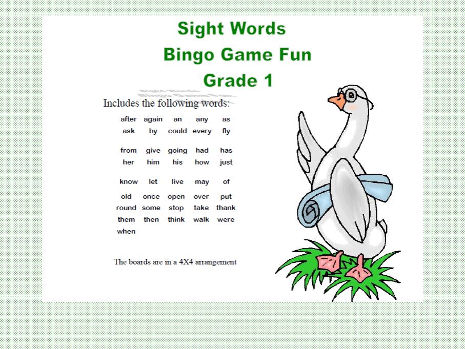 Bingo Game Fun- Sight Words for Grade 1