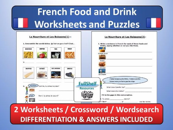 French Food and Drink Worksheets / Puzzles