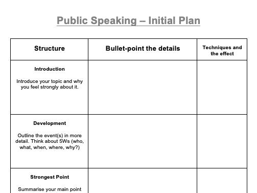 Speech Planning Sheet - KS3/4/5