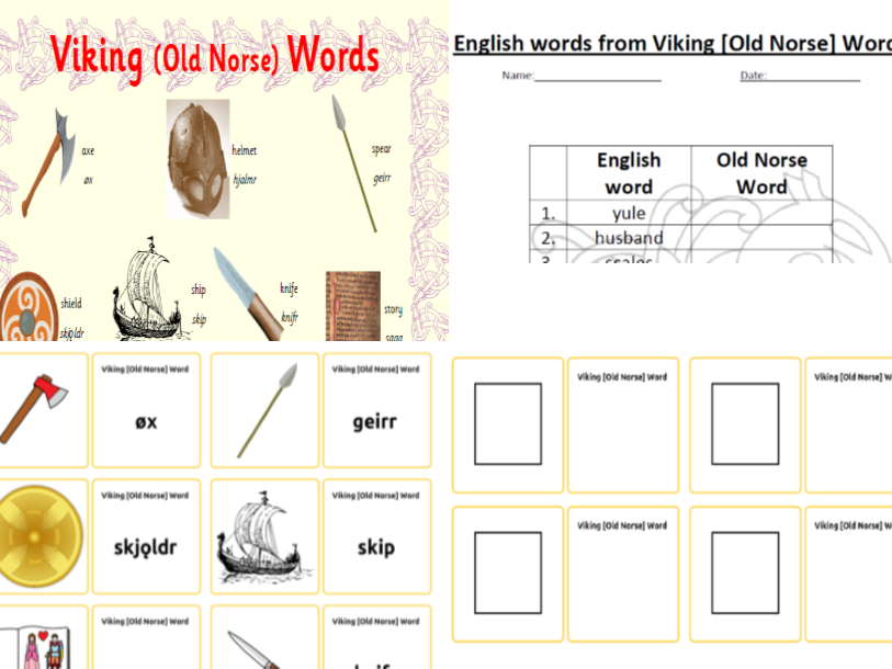 Viking (Old Norse) Words  +  English Words from Viking Words Activity