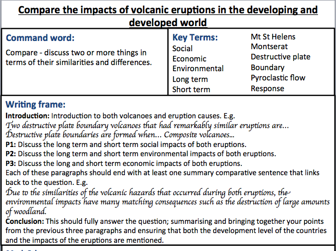 leah smith s geography shop teaching resources tes year 9 ks4 geography essay assessment sheet topic volcanoes volcanic impacts