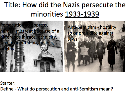 Life in Nazi Germany - Lesson 1 Nazi persecution of the Minorities