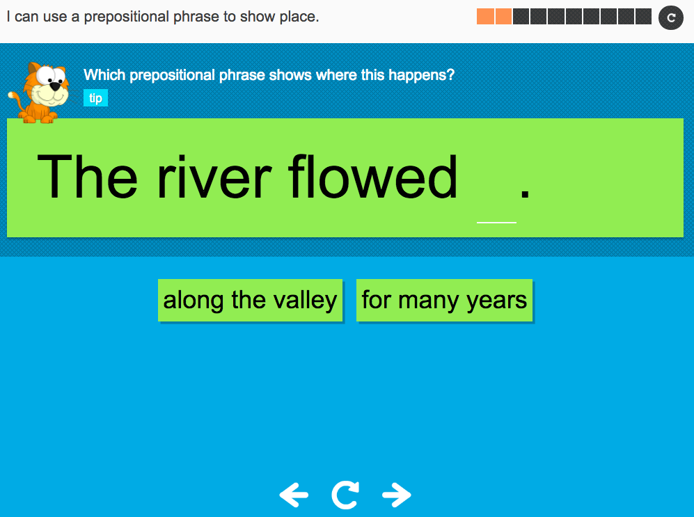 I can use a prepositional phrase to show place - Interactive Activity - Year 3 Spag