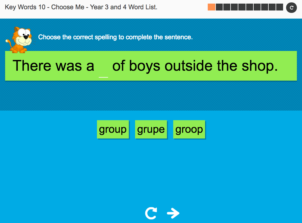 Key Words Spelling Interactive Exercise 10 - Choose Me - Year 3/4 Spag