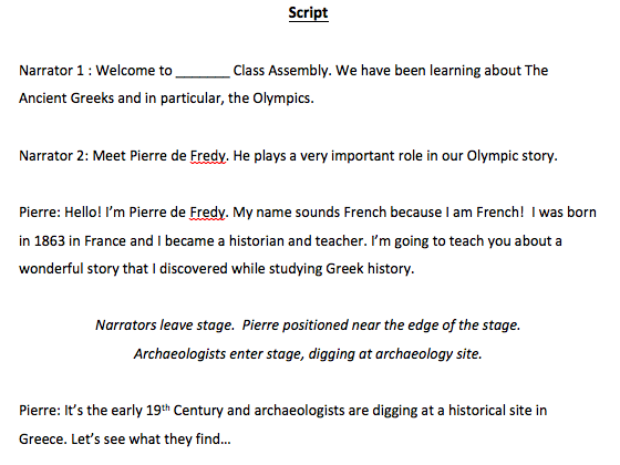 The Story of the Olympics Assembly