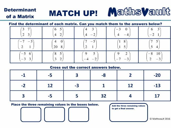Calculating determinants Matrices Worksheet