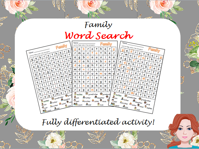 Family - wordsearch (differentiated)