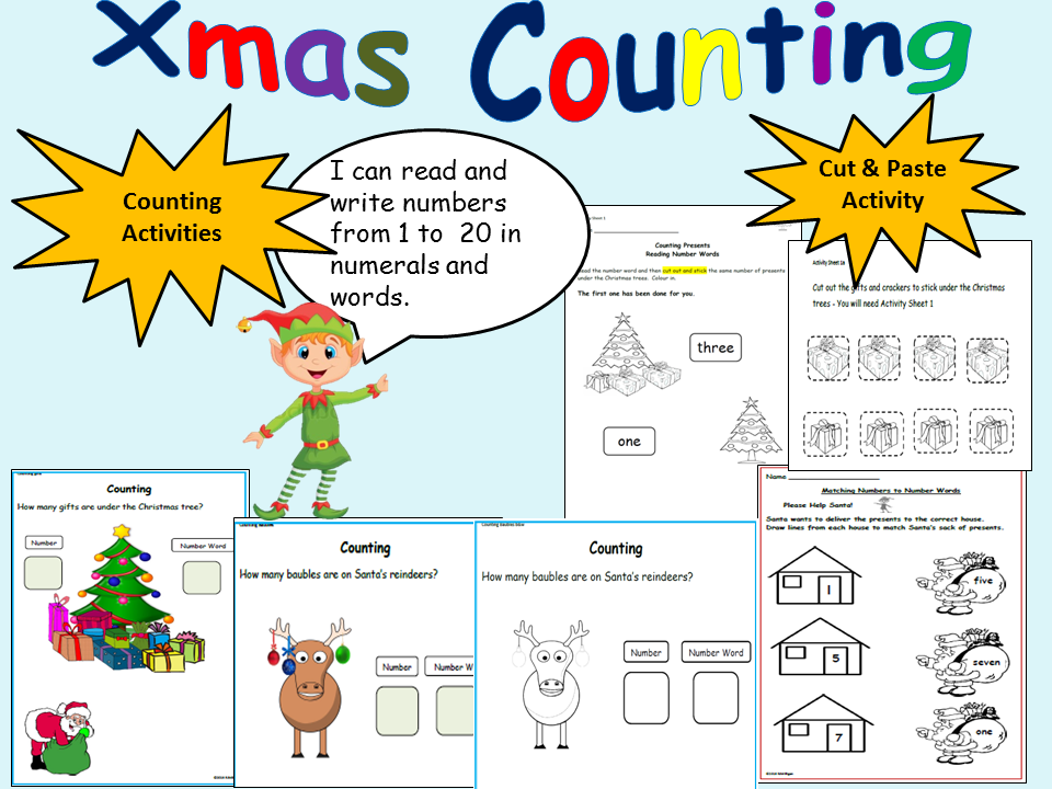 Cut and Paste Counting Maths Worksheets, Autism, Special Education ...