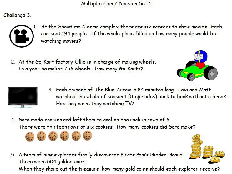 Y4 Y5 Multiplication & Division: Over 200 Differentiated Word Problems Plus Function Chains
