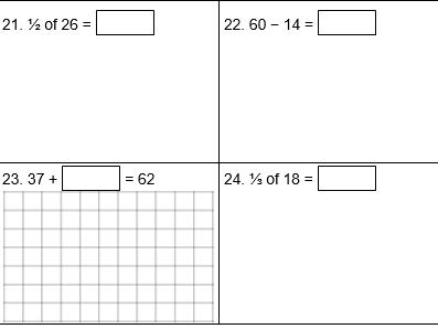 KS1 Arithmetic Practice Test A