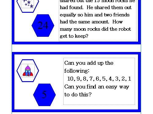 KS1 Maths Challenge Card Activity - Theme Space