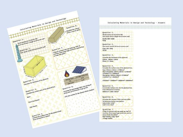 Calculating Materials in Design and Technology KS3 Homework Task