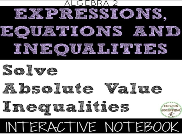 Absolute Value Inequalities Color Coded Interactive Notebook