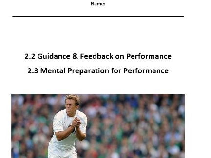 Edexcel New GCSE PE 9-1. Guidance, Feedback & Mental Preparation - Pupil Work Booklet