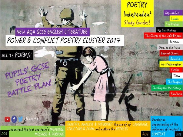 Pupils' Complete GCSE Poetry Independent Study Guide BUNDLE! Power & Conflict (ALL 15 POEMS/EBOOKS)