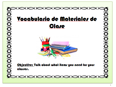 School Supplies Vocabulary in Spanish