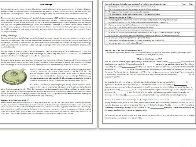 Stonehenge - Reading Comprehension Worksheet / Text
