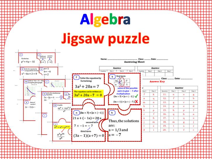 Algebra-Task cards & Jigsaw puzzle