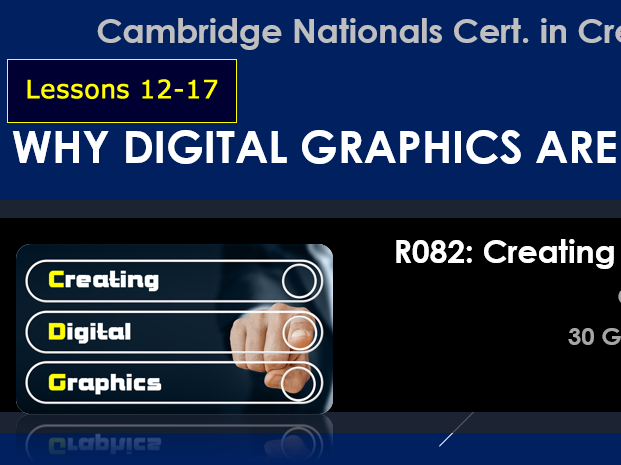 OCR CAMBRIDGE NATIONALS in Creative iMedia R082 Creating Digital Graphics LO3-4 (Lessons 12-17)