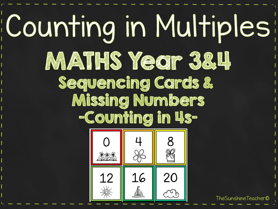 Multiples - Counting in 4s - Year 3&4 - Math - Place Value