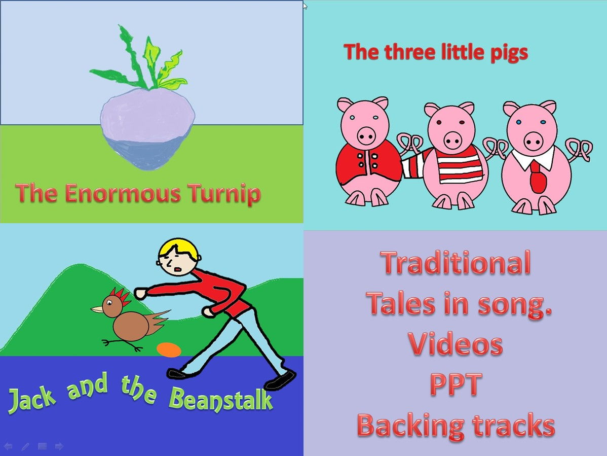 Three  Traditional Tales in song. Video.PPt.Mp3s. Vol. 1