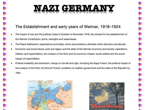 AN EASY GUIDE TO AN A*: A-LEVEL: THE ESTABLISHMENT AND EARLY YEARS OF WEIMAR 1918-24