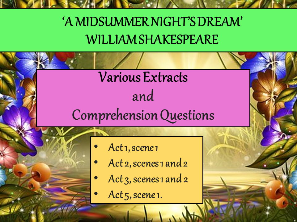 'A Midsummer Night's Dream' – Extracts and Comprehension Questions