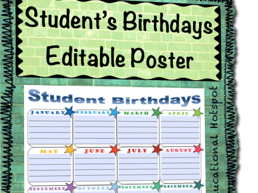 Students' Birthdays Editable Poster