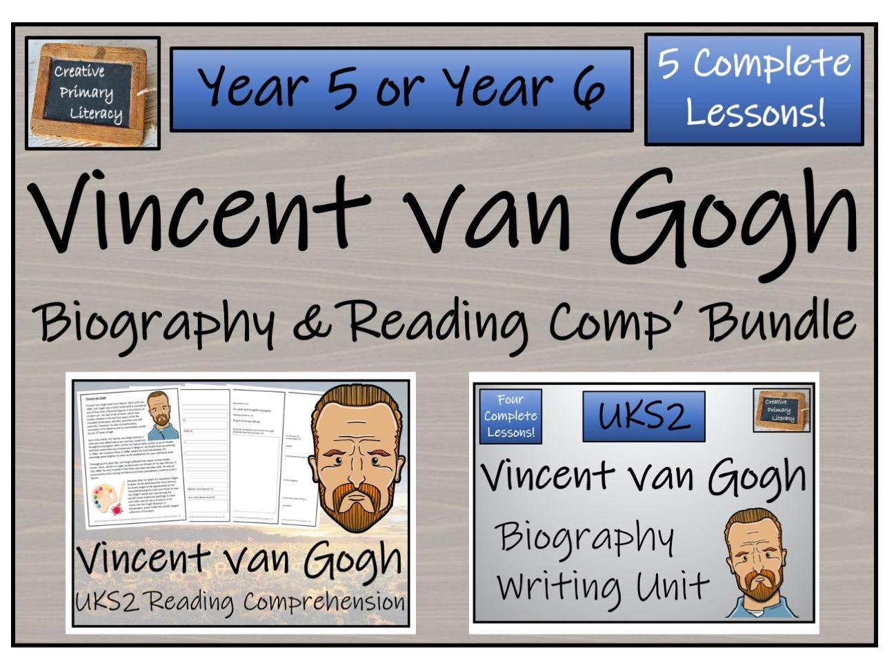 UKS2 Vincent van Gogh Reading Comprehension & Biography Bundle