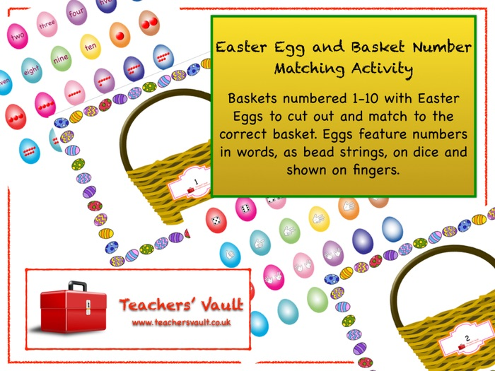 Easter Egg and Basket Number Matching Activity