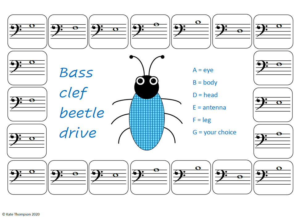 Bass Clef Beetle Drive printable game