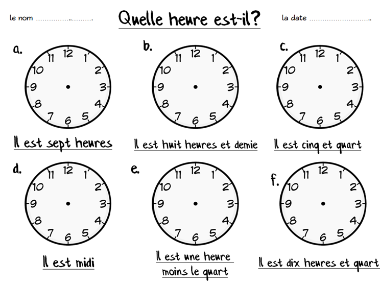 French Fill in the Clocks Worksheet