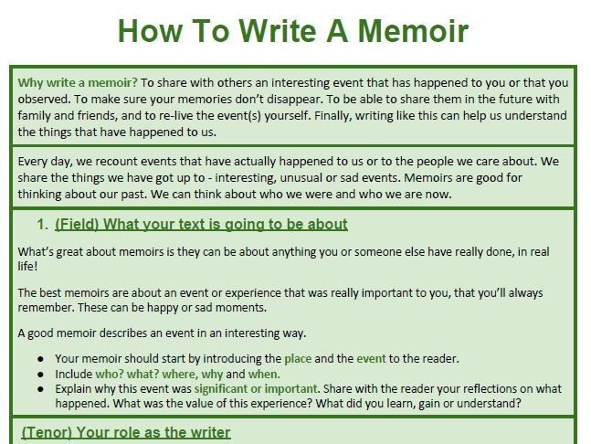 Genre Booklet: How To Write Memoir; How To Recount