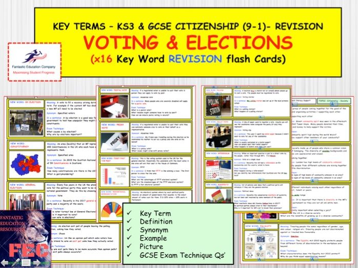 Voting and elections Revision flash cards for GCSE Citizenship 9-1