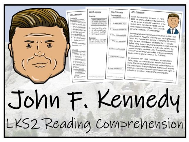 LKS2 - John F. Kennedy Reading Comprehension Activity