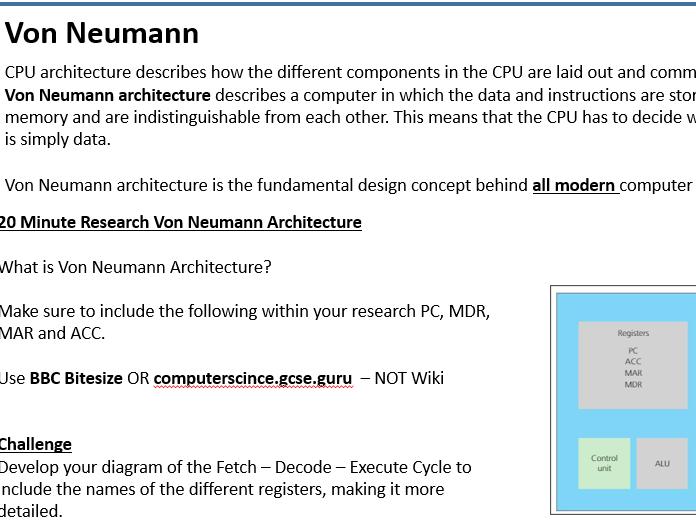 KS4 - Architecture of CPU / Von Neumann (OCR 1.1.1)